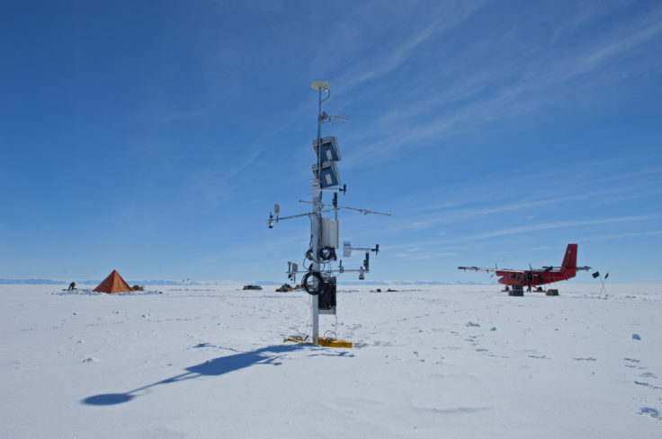 Automatic Weather Station (AWS) on the Larsen Ice Shelf with the BAS twin otter in background.