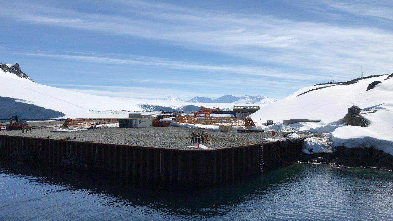 Photo of team welcoming a ship at Rothera Research Station