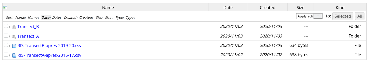 Screenshot of table showing multiple files