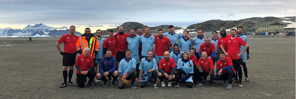 Photo of football match at Rothera Research Station