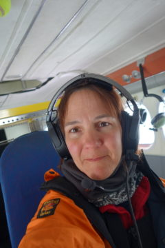 Amelie Kirchgaessner onboard the Twin Otter plane.