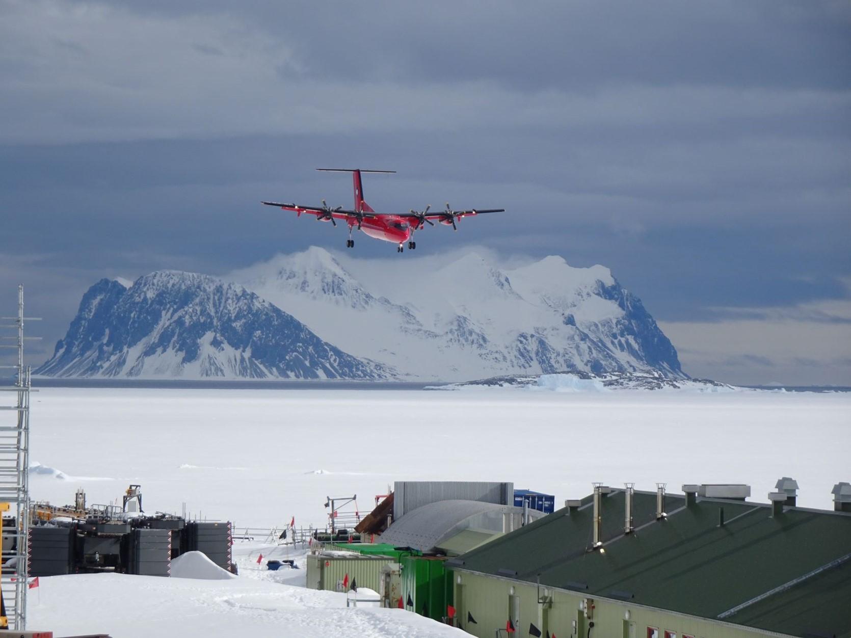 Dash 7 plane landing at Rothera Research Station