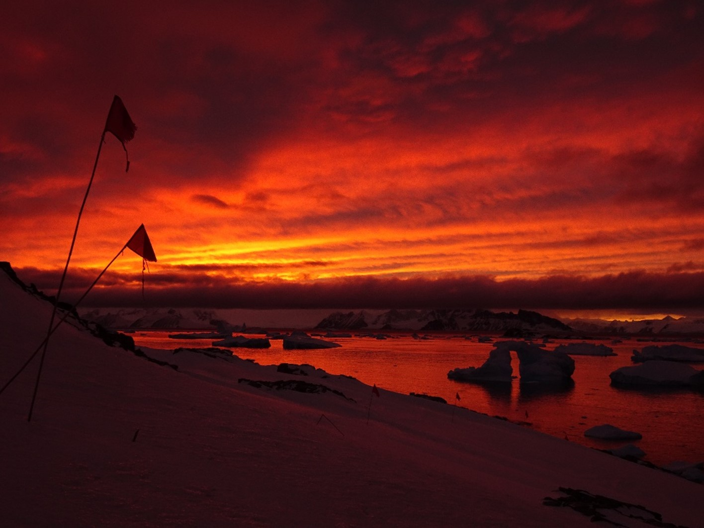 Photo of sunset at Rothera Point