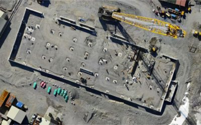 Aerial shot of the Discovery Building site at Rothera Research Station