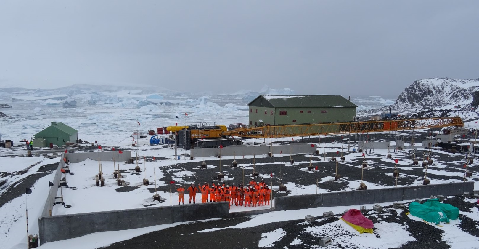 Photo of the Discovery Building footprint and NBH at Rothera