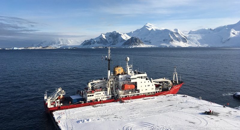 RRS James Clark Ross moored at new Rothera Wharf