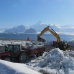 BAM diggers moving snow for the new Discovery Building