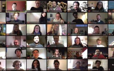 Group photo from zoom call, featuring a group of people each on their small screen