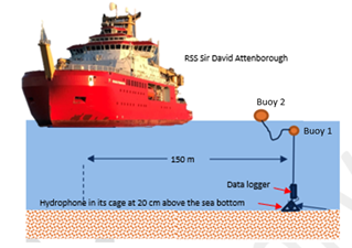 Diagram of a red ship above the sea. There are two buoys floating in the water attached to a representation of a data logger and hydrophone on the sea bed.